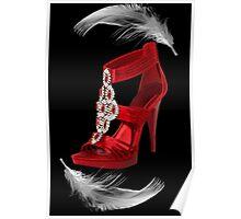 ♥•.¸¸.ஐCLASSY RED SHOE WITH A FEATHERS TOUCH PICTURE/ CARD♥•.¸¸.ஐ Poster