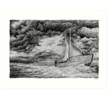 Fingerprint - Sailing - Black ink Art Print