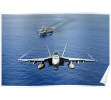 An F/A-18 Hornet demonstrates air power. Poster