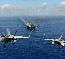 Two F/A-18E Super Hornets from the Tophatters of Strike Fighter Squadron (VFA) 14 by spitfirebbmf