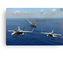 Two F/A-18E Super Hornets from the Tophatters of Strike Fighter Squadron (VFA) 14 Canvas Print