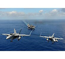 Two F/A-18E Super Hornets from the Tophatters of Strike Fighter Squadron (VFA) 14 Photographic Print
