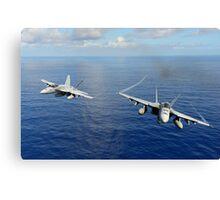 F/A-18 Hornets demonstrate air power. Canvas Print