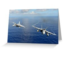 F/A-18 Hornets demonstrate air power. Greeting Card