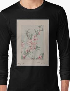 Peach tree branches with leaves and blossoms 001 Long Sleeve T-Shirt