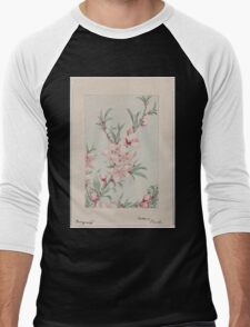Peach tree branches with leaves and blossoms 001 Men's Baseball ¾ T-Shirt