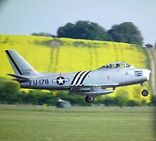 North American F-86A Sabre on take off by Andy Jordan