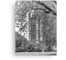 Houses of Parliament - Victoria Tower (2) in Monochrome Canvas Print