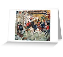 Joan of Arc entering castle of Loches to announce liberation of Orleans to Charles VII Greeting Card