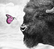 Bison and Butterfly (landscape format) by Eric Fan