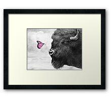 Bison and Butterfly (landscape format) Framed Print