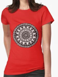 Black and white Mandala 1. Womens Fitted T-Shirt