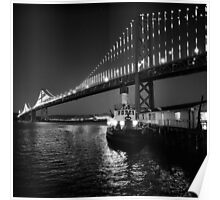 Bay Bridge illuminated by the Bay Lights Project Poster