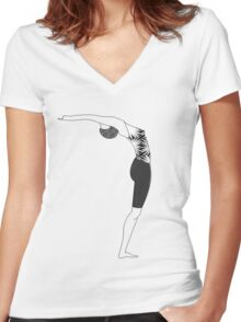 Standing Backbend Women's Fitted V-Neck T-Shirt