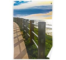 Sea Fence at Dusk Poster