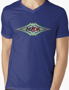 AMOK geometric waves Mens V-Neck T-Shirt