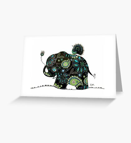 The Elephant and the Peacock Greeting Card
