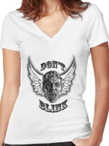 Don't Blink! Women's Fitted V-Neck T-Shirt