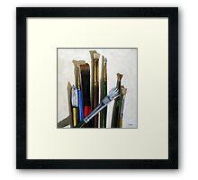 Artists Brushes still life oil painting Framed Print