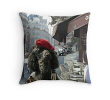 A Poodle in Paris Throw Pillow
