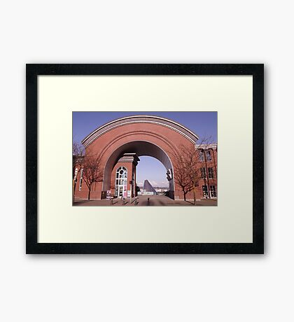 View of the Museum of Glass through the Arch of the Washington State History Museum Framed Print