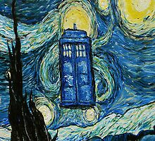 Starry Night Flying Tardis Doctor Who by neutrone