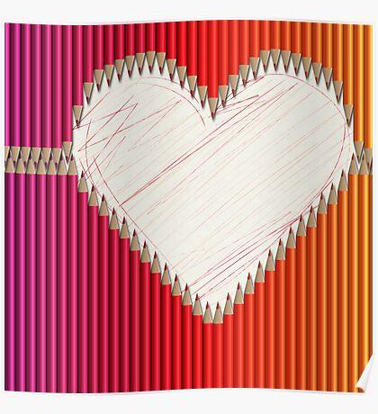 Buntstifte Herz Poster