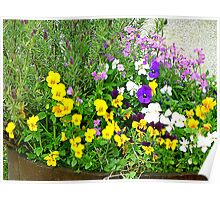 A Barrel Of Pretty Flowers Poster