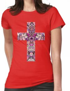 Floral Kaleidoscope - Cross Womens Fitted T-Shirt