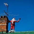 Santa on roof - greeting card by davidprentice