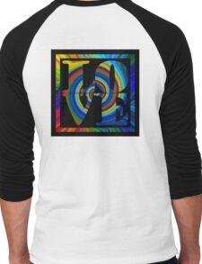 retro color spiral square love t (large back) Men's Baseball ¾ T-Shirt