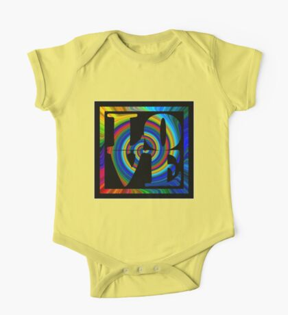 retro color spiral square love t (large back) One Piece - Short Sleeve