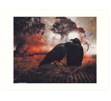 Of feathers, fur and a mobile home under the shade of an old gum tree Art Print