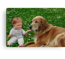 ❀◕‿◕❀PRECIOUS MOMENTS IN TIME-THE LOVE OF A DOG❀◕‿◕❀KINDLY VIEW VIDEO 2 C MY INSPIRATION IN CREATING THIS PICTURE TY HUGS❀◕‿◕❀ Canvas Print