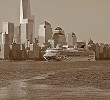 Norwegian Gem On The Hudson River Lower Manhattan In The Background by pmarella