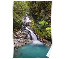Waterfall on the way to Milford Sound Poster