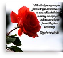 Red Rose w/Scripture Canvas Print