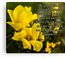 Yellow Flowers w/Scripture Canvas Print
