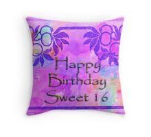 Happy Birthday Sweet Sixteen Throw Pillow