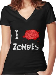 I BRAINS Zombies Women's Fitted V-Neck T-Shirt