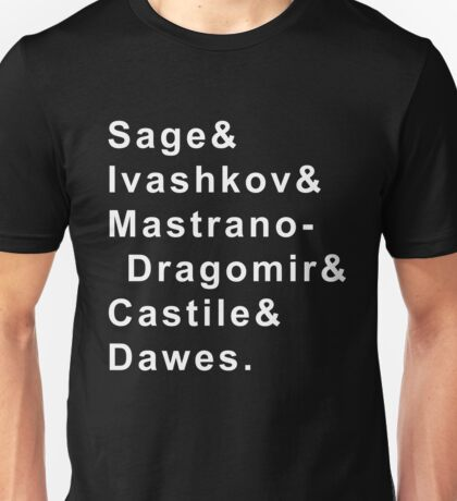 Bloodlines Character Last Names: White Print Unisex T-Shirt