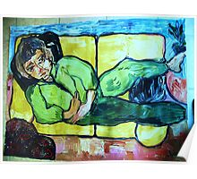 PORTRAIT OF ROSE DESANTIS - ALWAYS ON A COUCH - acrylic, tempera, paper 36 x 48''  Poster