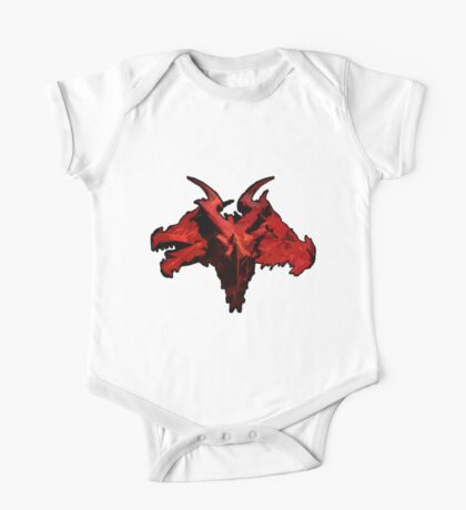 Three-Headed Dragon, Red One Piece - Short Sleeve