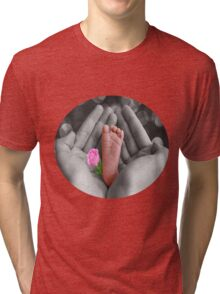 ☀ ツBABY'S FOOT AND ROSE TEE SHIRT PRECIOUS MEMOIRES☀ ツ Tri-blend T-Shirt