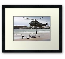 soldiers on a rescue mission Framed Print