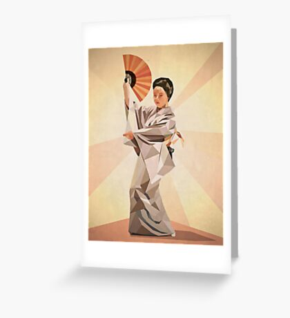 polygonal japanese dancer Greeting Card