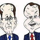 Francois Hollande et David Cameron caricature by Binary-Options