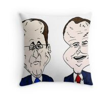 David Cameron and Francois Hollande caricature Throw Pillow