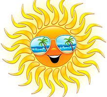 Summer Sun Cartoon with Sunglasses by BluedarkArt