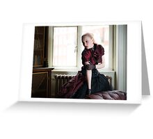 Victorian woman in library Greeting Card